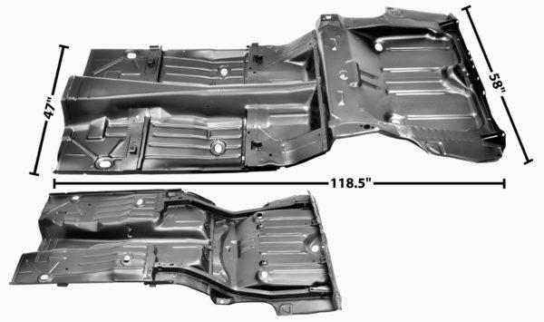 1046AE 1968 Camaro Convertible - Complete Floor Pan With Trunk Floor Pan