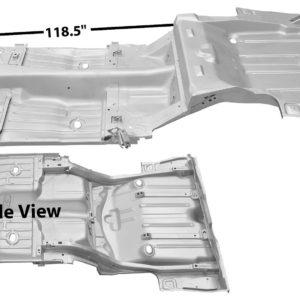1046AGWT 1969 Complete Floor Pan With Trunk Pan - 6 Inch Inner Wheel House - Weld Through Primer