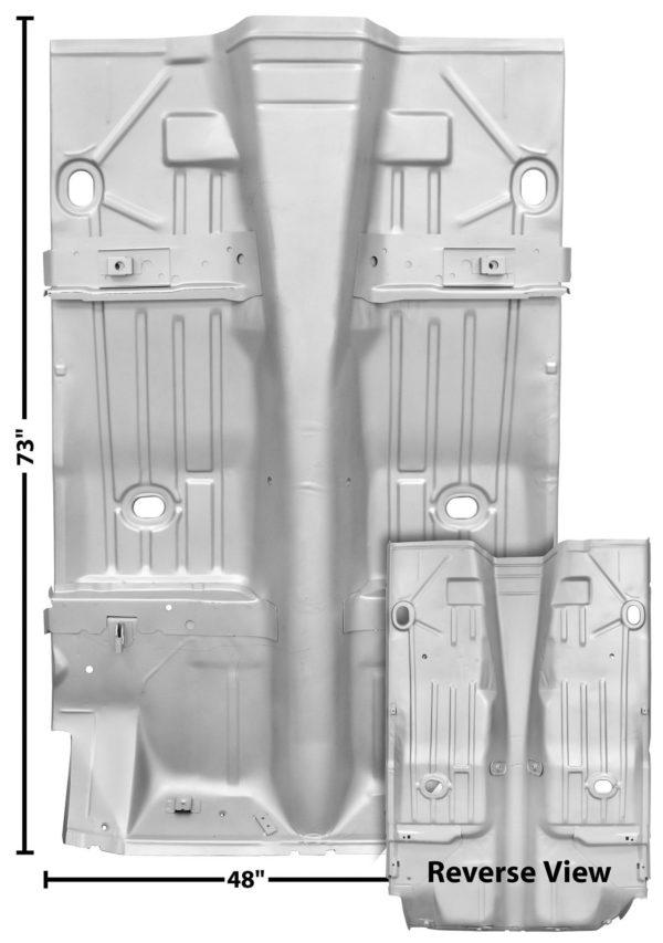1046AXWT 1969 Firebird Complete Floor Pan - Cut Out For6 Inch Wide Inner Wheelhouse - Weld Through Primer