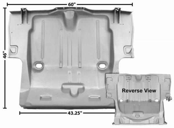 1046CXWT 1969 Full Trunk Floor Pan With 6 Inch Wheelhouse Cut - Weld Through Primer