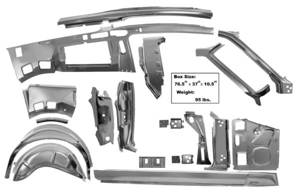 3645TA 67-68 Fastback Quarter Door Frame Assembly Component Kit - RH